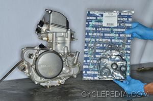 1. A full gasket set from Winderosa has all of the gaskets and seals for the CRF250R engine.