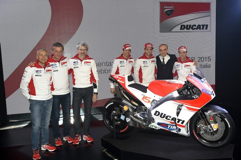 Ducati Team Presentation 2015 Davide Tardozzi, Paolo Ciabatti, Gigi Dall'Igna, Michele Pirro, Andrea Iannone, Claudio Domenicali, Andrea Dovizioso Desmosedici GP15