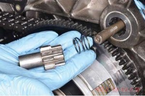 4Remove the pinion gear and spring and check for any damaged teeth on starter gear or clutch basket.