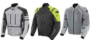 From left to right: Joe Rocket Ballistic Adventure, Atomic High-Vis and Phoenix ION jackets.