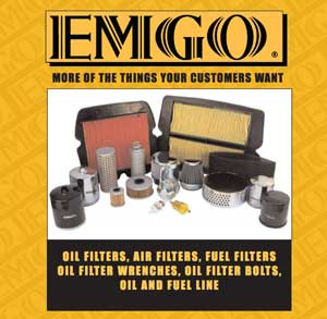 New for EMGO in 2015 is this catalog for oil and air filters, oil lines and filter wrenches. They also published a new catlog for ATV parts.