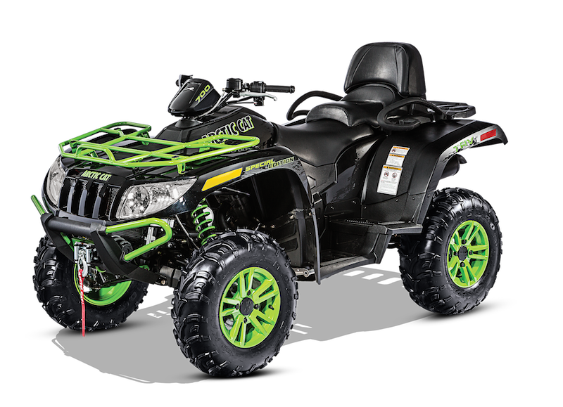 Arctic Cat's new two-up rider model, the TRV 700 Special Edition, features a 3,000-lb. winch, color-matched aluminum wheels, and the choice of true timber camo/orange metallic or black metallic colored bodywork.