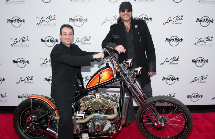 """Michael Braunstein and Danny Koker, star of """"Counting Cars"""" unveiled the Les Paul Custom Bike in New York"""