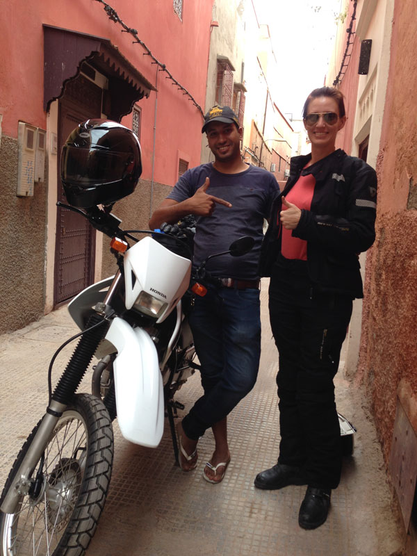 Thumb's up in Marrakech knowing my riding friend Cristi Farrell was this rental operator's first motorcycle rental to a woman rider.