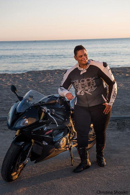 Porsche Taylor of 'Black Girls Ride' magazine, epitomizes the urban rider.  Photo by Christina Shook.