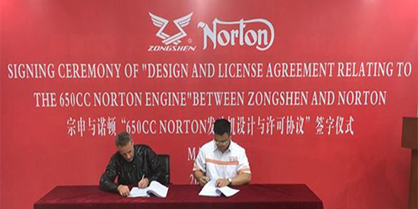 Norton Signs Design Licence Agreement With Zongshen Manufacturing